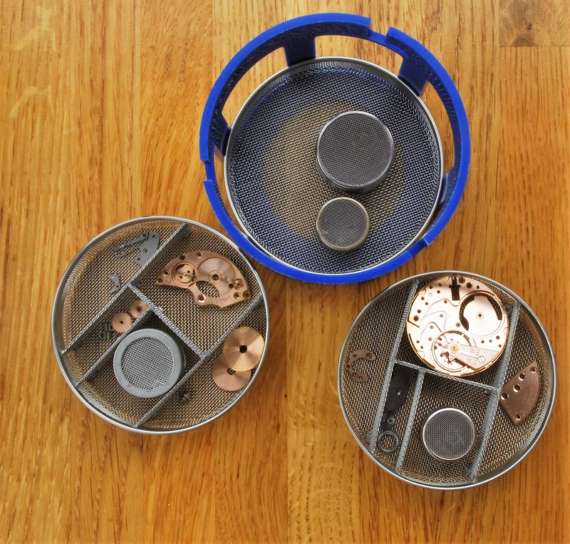 Omega Seamaster 30 repair and service - cleaning baskets with lids